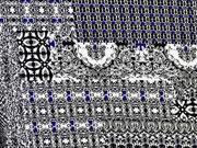 Viskosejersey Patchwork Look, schwarz blau