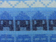 Wollstoff Peru Inkamuster hellblau/dunkelblau