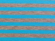 RESTSTÜCK 24 cm Jersey Neon-Streifen 1 cm  - türkis auf grau