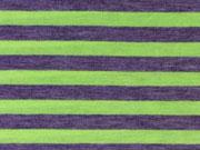 Jersey Neon-Streifen 1 cm - gelb auf grau