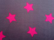 Softshell Jackenstoff Sterne taupe/ pink