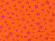 RESTSTÜCK 45 cm Jersey Sterne pink auf orange