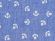 RESTSTÜCK 32 cm leichter Jeans kleine Anker, jeansblau