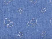 leichter Jeans Glitzerherzen & Sterne, jeansblau