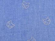 RESTSTÜCK 98 cm leichter Jeansstoff Glitzerkatzengesichter, jeansblau