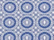 Jacquard Rädchen Bengalin, bleu / weiss