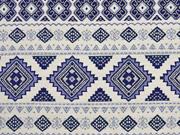 Jaquard Rauten Bordüren, ecrue dunkelblau