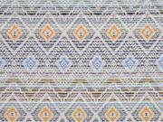 Jaquard Inka Muster, ecrue gelb blau