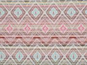 Jaquard Inka Muster, ecrue pink mint