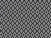 elastischer Hosenstoff Rauten & Kreuze, schwarz weiss