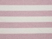RESTSTÜCK 53 cm Glitzer Strickstoff Streifen 2 cm, altrosa weiß