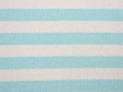 Glitzer Strickstoff Streifen 2 cm, mint weiß
