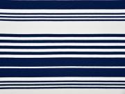 Viskose Jersey versch. Streifen, dunkelblau weiß