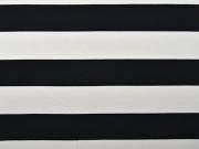 Jersey Blockstreifen 6,5 cm, schwarz-weiß