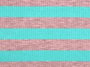 Viskosejersey Streifen gerippt,  aquamarin grau melange