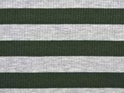 Viskosejersey Streifen gerippt,  khaki grau melange