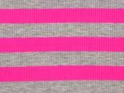 RESTSTÜCK 119 cm Viskosejersey Streifen gerippt,  pink grau melange