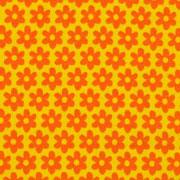 Jerseystoff Blumen Blümchen, orange gelb