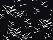 RESTSTÜCK 33cm Viskose Vogelschwarm schwarz
