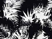 Viskose Jersey Farnblätter, schwarz weiß