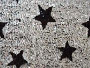 Cocktail Star Paillettenstoff, schwarz/silber
