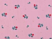 Baumwolle kleine rote Rosen, rosa