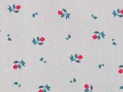 Baumwolle kleine rote Rosen, helltaupe