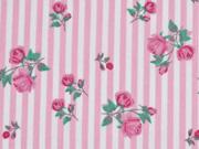 Baumwolle Streifen & Rosen,  rosa/weiss