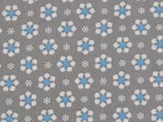 RESTSTÜCK 64 cm BW Blümchen, hellblau/taupe