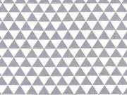 RESTSTÜCK 17 cm Baumwollstoff kleine Dreiecke, weiss grau