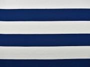 Viskose Jersey Blockstreifen 6,5 cm, marine-weiß