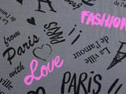 RESTSTÜCK 30 cm Jersey Paris & Love, dunkelgrau