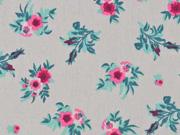 Baumwolle Rosen Bouquet, helltaupe