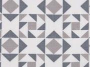 RESTSTÜCK 30 cm BW Dreiecke & Quadrate, grau/taupe auf weiss