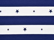 Jersey Blockstreifen 4,5 cm & Sterne, navy-weiß