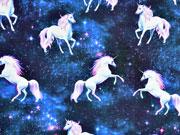 Jersey Digitaldruck Einhörner Sternenhimmel