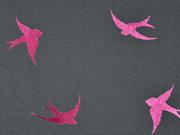 Softshell Glitzer Schwalben, rosa auf dunkelgrau