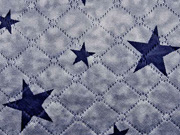 Steppstoff Teddy Doubleface Sterne, dunkelblau