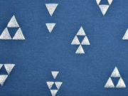 Sweat Alpenfleece Glitzer Dreiecke, jeansblau