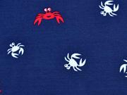 RESTSTÜCK 23 cm Jersey Krebse,  rot/weiß auf dunkelblau