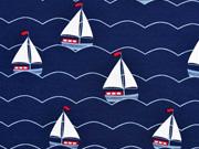 Jersey Segelboote, weiß helblau auf dunkelblau