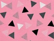 RESTSTÜCK 42 cm Jersey Dreiecke, schwarz grau rosa