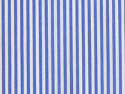 Baumwollstoff Streifen schmal elastisch, mittelblau weiß