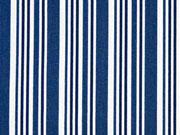 Baumwolle versch. Streifen, indigoblau weiß