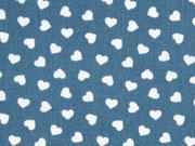 Baumwollstoff kleine weiße Herzen, jeansblau