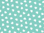 Baumwolle kleine Herzen, mint