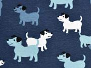 RESTSTÜCK 43 cm Jersey Hunde Treffen, indigoblau