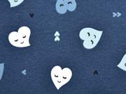 Jersey Herzen mit Gesicht, indigoblau
