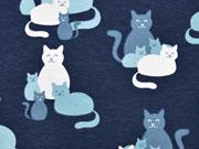 RESTSTÜCK 73 cm Jersey Katzen Treffen - jeansblau