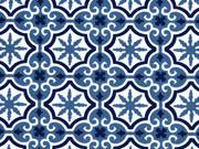 Baumwolle Fliesenmuster, indigoblau weiß